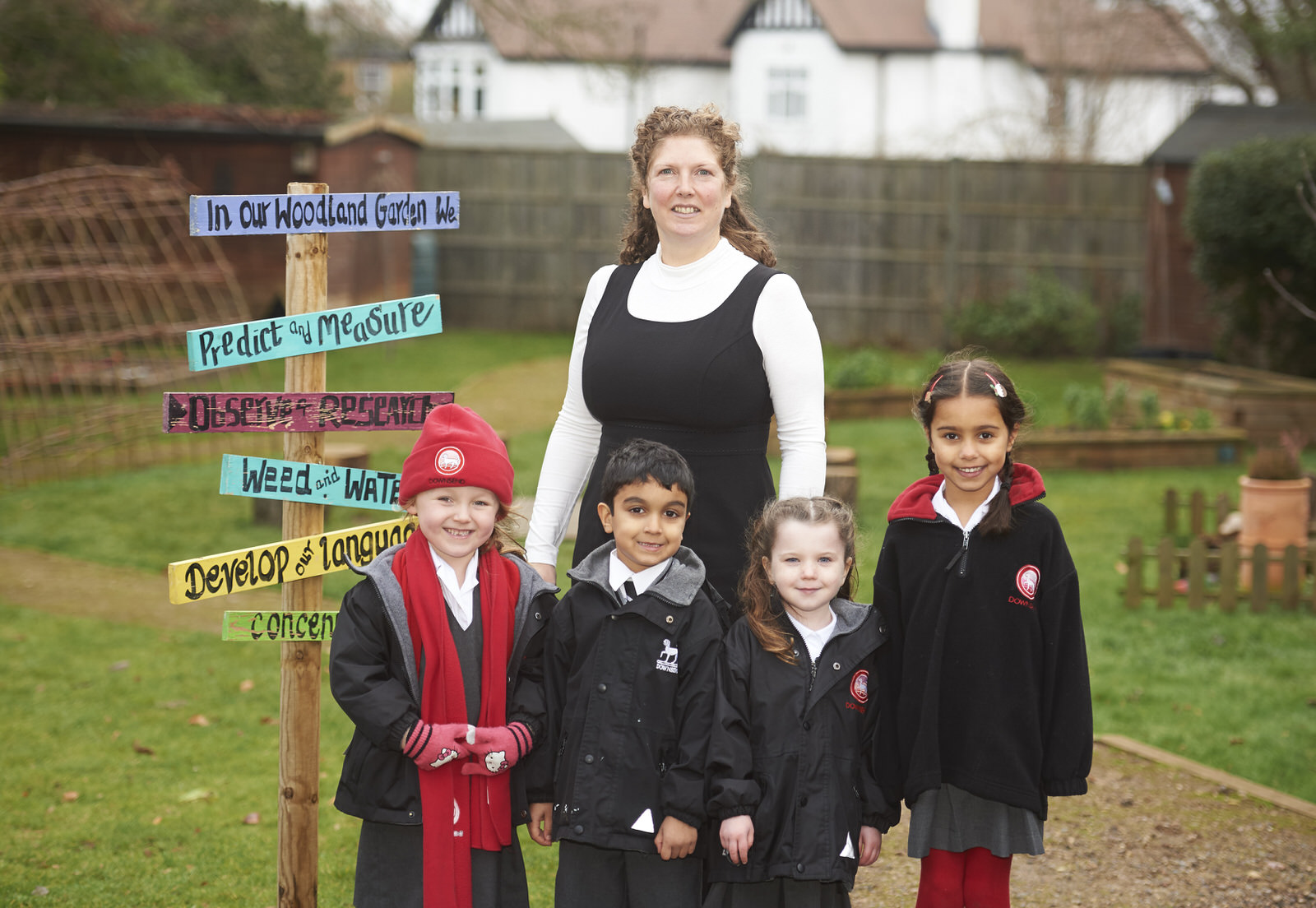 Headmistress Epsom and pupils