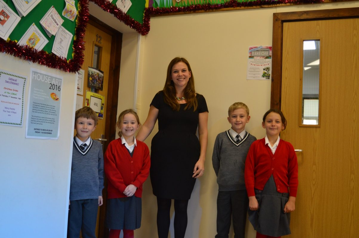 Clare Kirkham and Lower School pupils