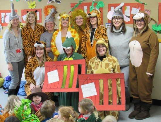 Ashtead staff dress as animals at a zoo