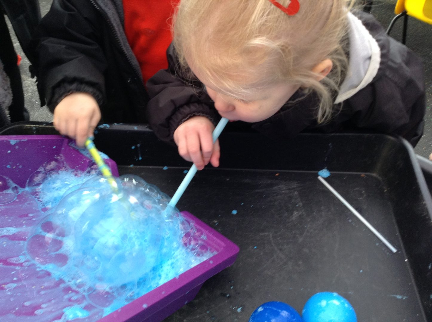 Ashtead pupils play with bubbles