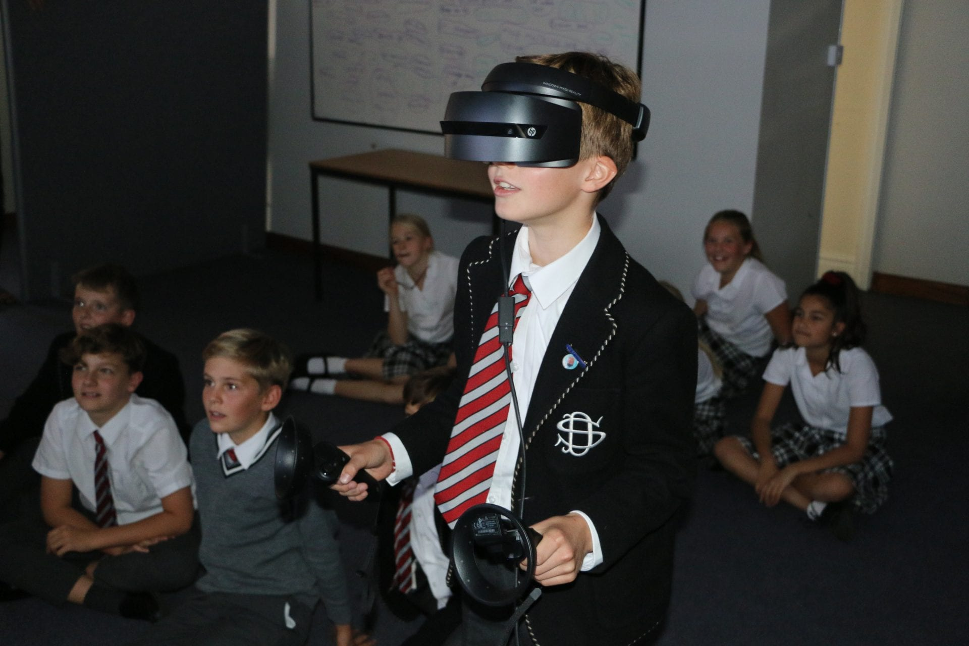 Boy with VR headset
